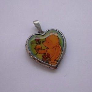 Vintage Winnie The Pooh Heart Locket Pendant